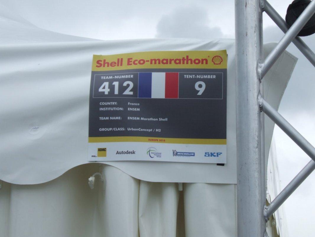 Pancarte - ENSEM - Shell Eco-marathon 2010