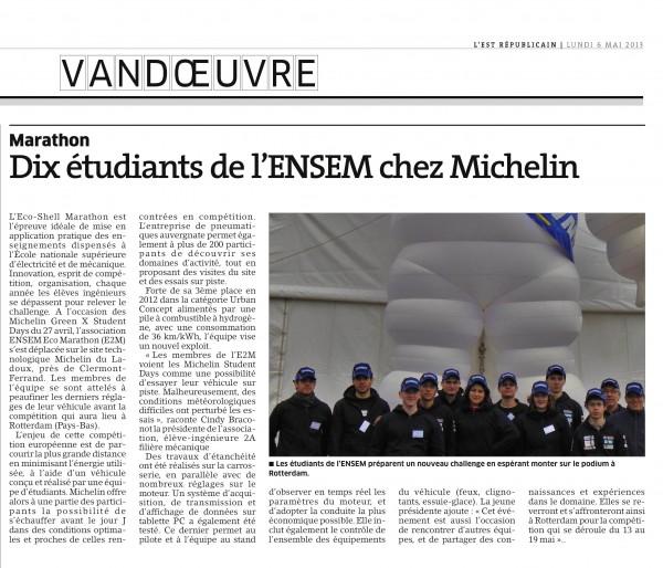 Article à propos de notre participation aux Michelin Student Days 2013
