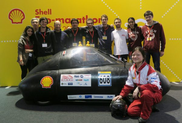 Team Ensem-Eco-Marathon from Ensem Vandoeuvre-Les-Nancy, France, pose for a team portrait at Make the Future 2016 on Friday, July 1, 2016 in London, UK. (Shell)